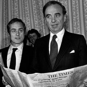 Harold Evans with Rupert Murdoch in 1981.