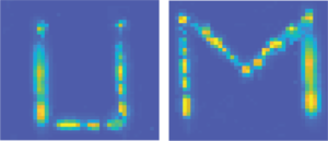 This message will self-destruct in seven days, or it can be erased with a flash of blue light. Written with UV light, the letters are marked out by molecules that shrink by storing energy, stretching the atoms of the semiconductor above. This shifts the light emitted by the semiconductor to longer wavelengths, represented in the visible spectrum by yellow on a blue background. Image credit: Che-Hsuan Cheng, Excitonics and Photonics Lab, University of Michigan.