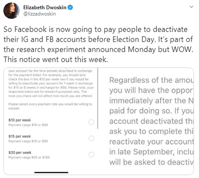 Washington Post reporter Elizabeth Dwoskin posted screen shots of a notice from the firm, asking what it would cost to close her Instagram and Facebook accounts. The survey states the account would go dark starting late September for one or six weeks and to participate, users must not use the platform during that time