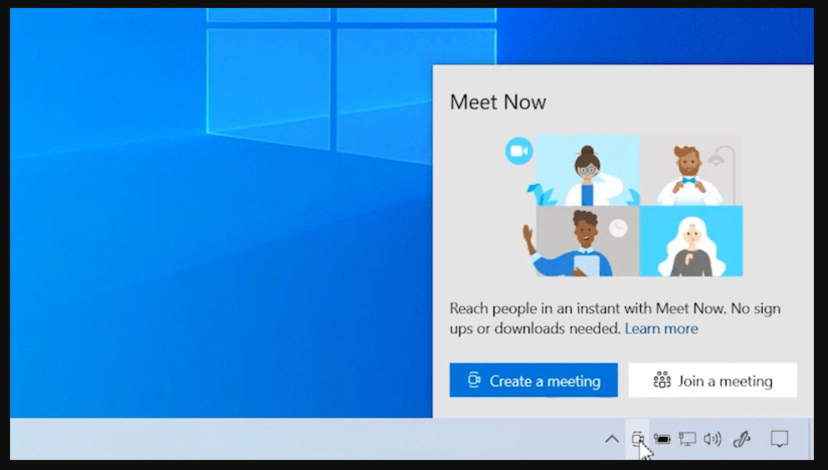Microsoft Windows 10 Skype meet now taskbar