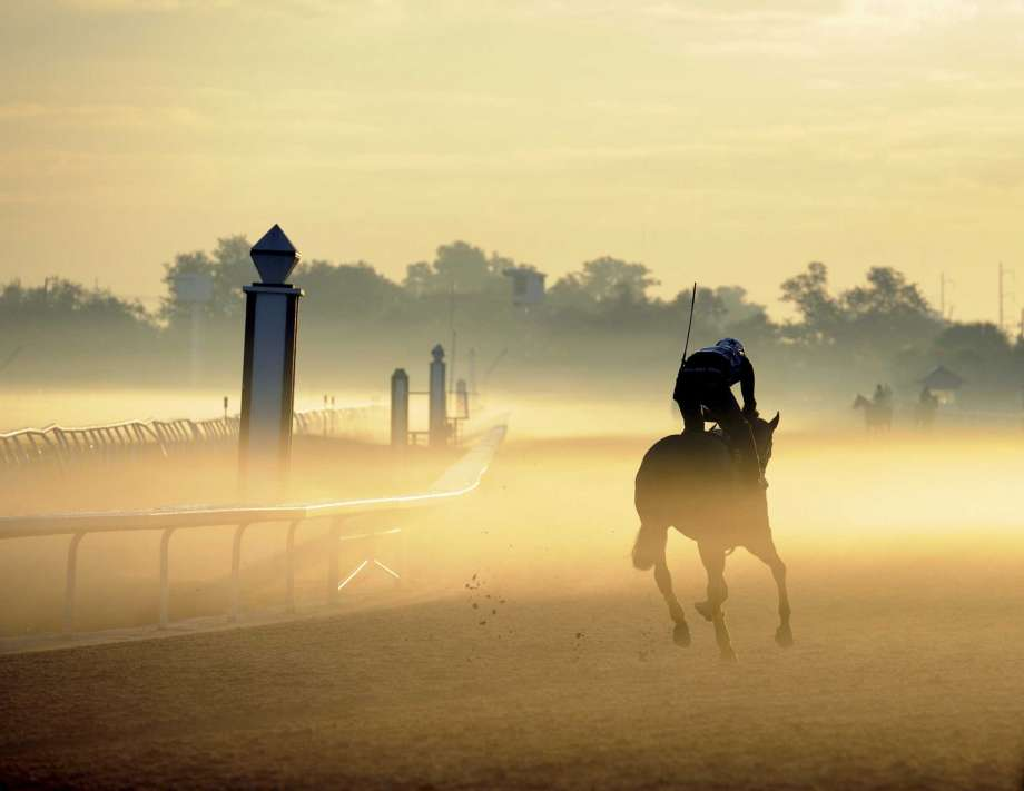 """FILE - In this Oct. 11, 2010 file photo, a horse makes his way through the early morning fog at the Fair Grounds Race Course in New Orleans. Federal prosecutors say the owners of the horse racing track in New Orleans have agreed to pay a $2.8 million penalty for letting horse manure and urine into the city's drainage system for at least six years and to spend twice that on ending the discharges. The U.S. Justice Department described the fine to be paid by Churchill Downs Inc. as the largest ever paid by a """"concentrated animal feeding"""" operation under the Clean Water Act, news outlets reported. Photo: Alexander Barkoff, AP / 2010 AP"""