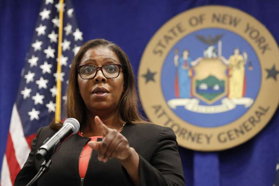 """FILE- In this Aug. 6, 2020 file photo, New York State Attorney General Letitia James takes a question at a news conference in New York. During a Tuesday, Sept. 29 media conference call on an initiative, dubbed """"Operation Corrupt Collector,"""" James offered frank advice to older people who are often seen as easy marks for dubious debt collectors. """"Senior citizens, as I always say, they've earned the right to hang up and to be rude,"""" James said. """"Most seniors are not rude, but when it comes to individuals engaging in illegal conduct, they should hang up and report the collector to the FTC immediately."""" Photo: Kathy Willens, AP / Copyright 2020 The Associated Press. All rights reserved."""