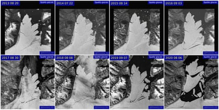 Satellite images of the disintegration of the Spalte glacier in northeast Greenland between 2013 and 2020.