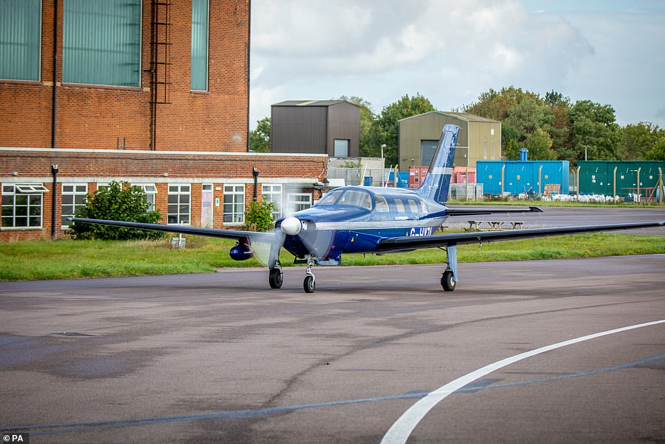 Six-seater Piper M-class aircraft completed a 20-minute flight from Cranfield Airport in bedfordshire yesterday