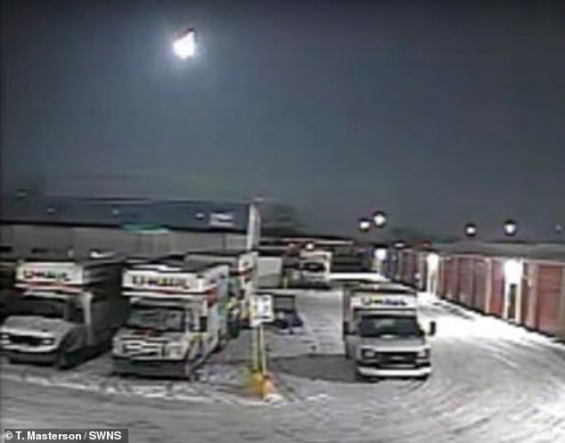 Security camera footage of the fireball in the sky over Toledo, Ohio. The six-foot wide rock fragmented and illuminated the sky while travelling at 30,000mph