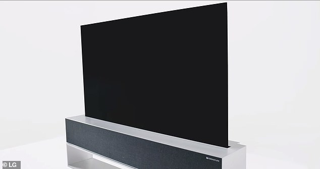 Users can choose from three modes - full view, line view and and zero view In full view, the TV rolls out to show the whole 65-inch display