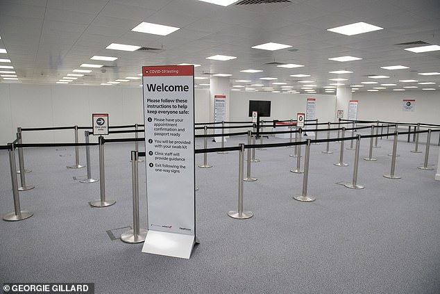 New facilities in Terminals 2 and 5 will offer swab tests to travellers flying to countries that require evidence of a negative test – with results available in 20 minutes.Heathrow already has a testing hall for inbound travellers (pictured)