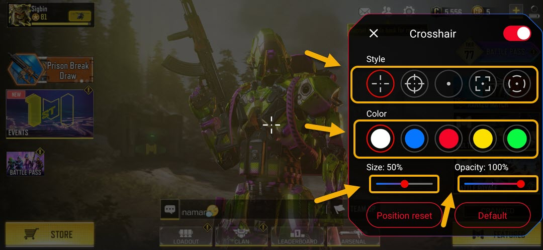 Configure the crosshair to your preference