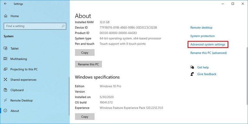 Advanced System Settings on Windows 10