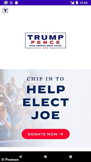 Norwegian app security firm Promon used a well-known vulnerability in the Android operating system to add fakes screens to the two candidate's election apps. While their additions were comical — showing Mr Biden in a 'MAGA' cap and making Mr Trump's app fundraise for his opponent (pictured) — the exploit may be used maliciously. For example, hackers can easily force vulnerable to prompt users into handing over sensitive information — such as usernames, passwords or even credit card details