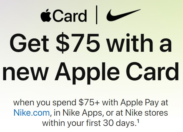 Apple offered a welcome bonus to new card holders that made purchases at Nike.