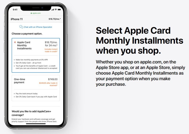 The Apple Card allows customer to pay for select purchases in monthly installments.