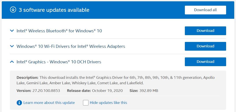 Intel DCH driver update