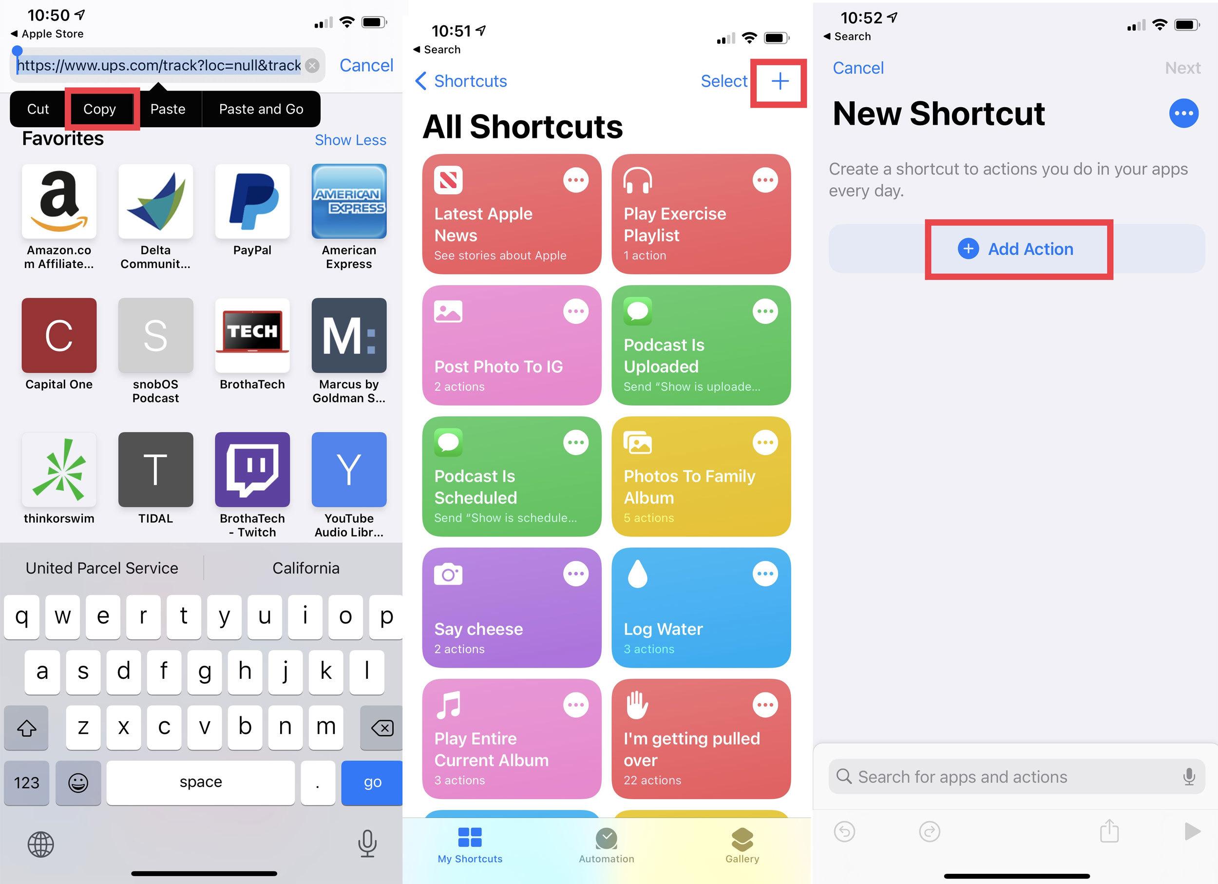 screenshot of the apple shortcuts app