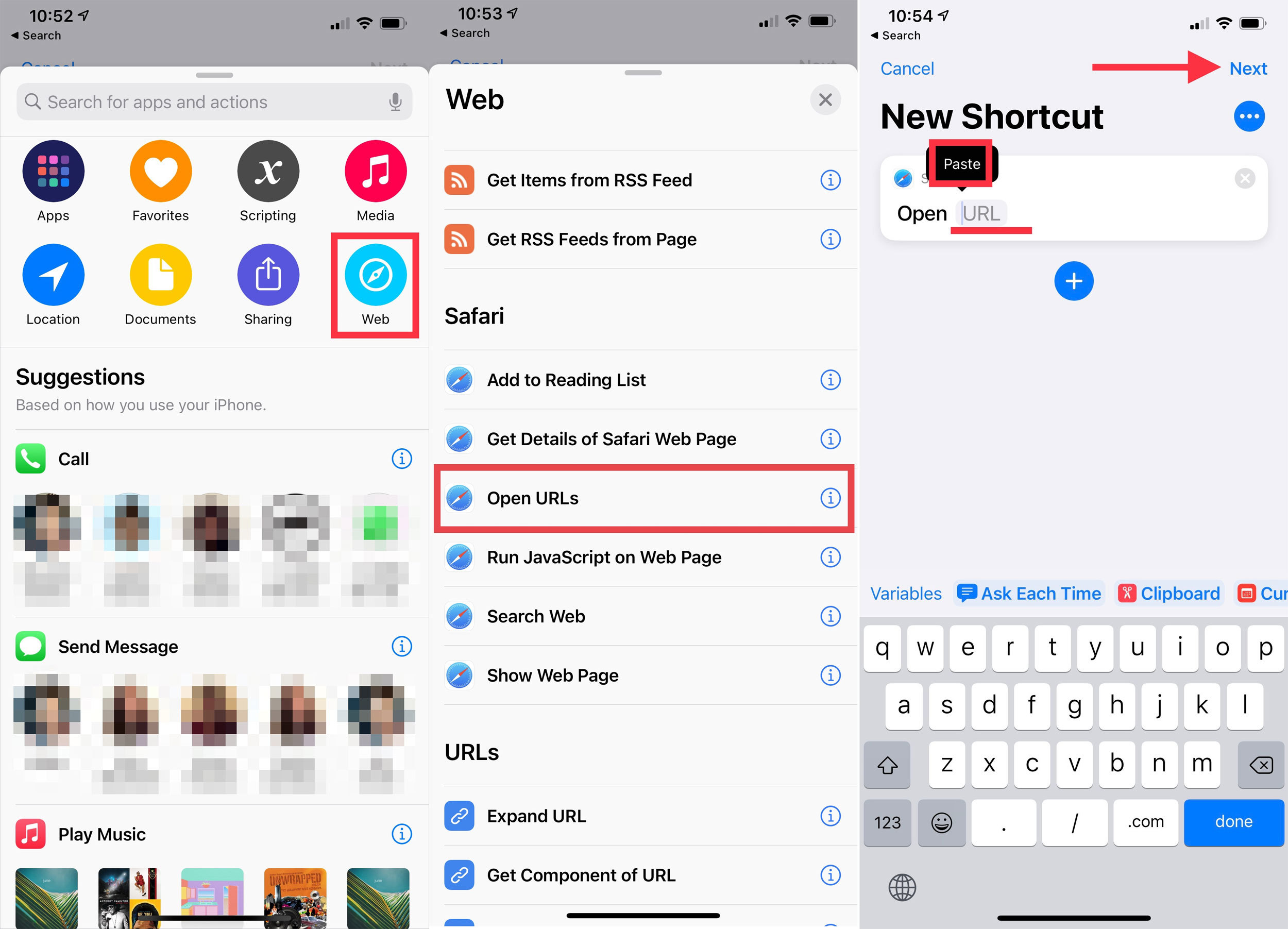 screenshot of the shortcut app