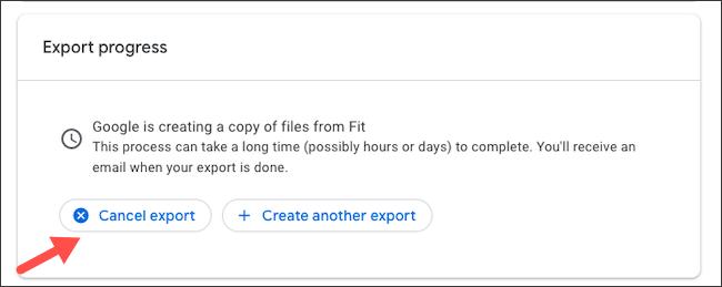 Cancel Google Fit data export