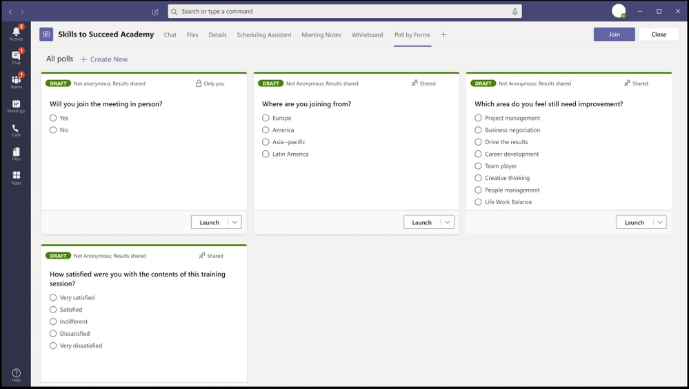 Polls in Microsoft Teams