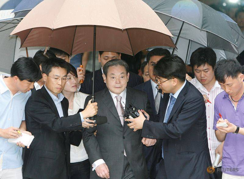 Lee Kun-hee, former Samsung Group chairman, leaves after his trial at a Seoul court