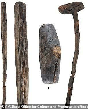 Among the weapons found in Tollense is a wooden club in the shape of a baseball bat and another stick comparable to a mallet