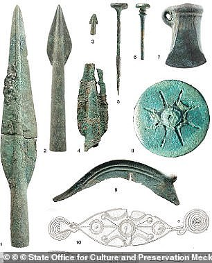 Several bronze weapons (pictured) were found at the site, including spear heads