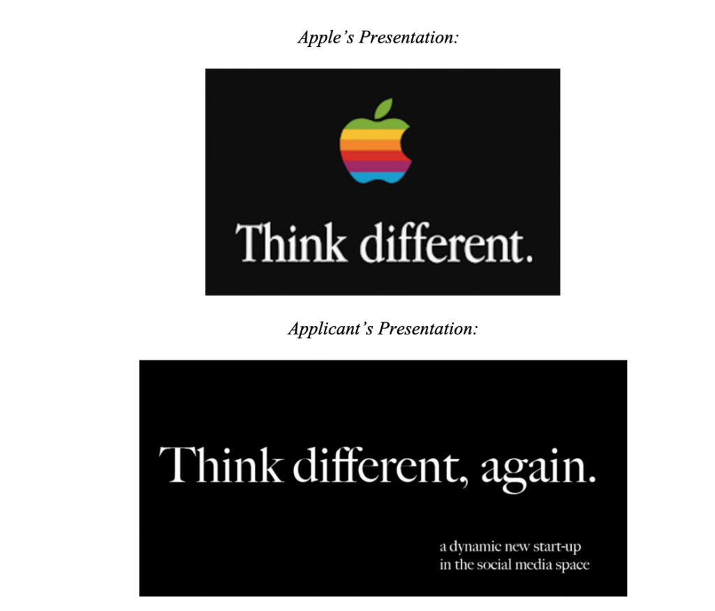 """A comparison of the two trademarks at issue.  The applicant's mark is on the bottom, and reads """"Think different, again.""""  Apple's logo on the top says """"Think Different"""" accompanied by a rainbow apple."""