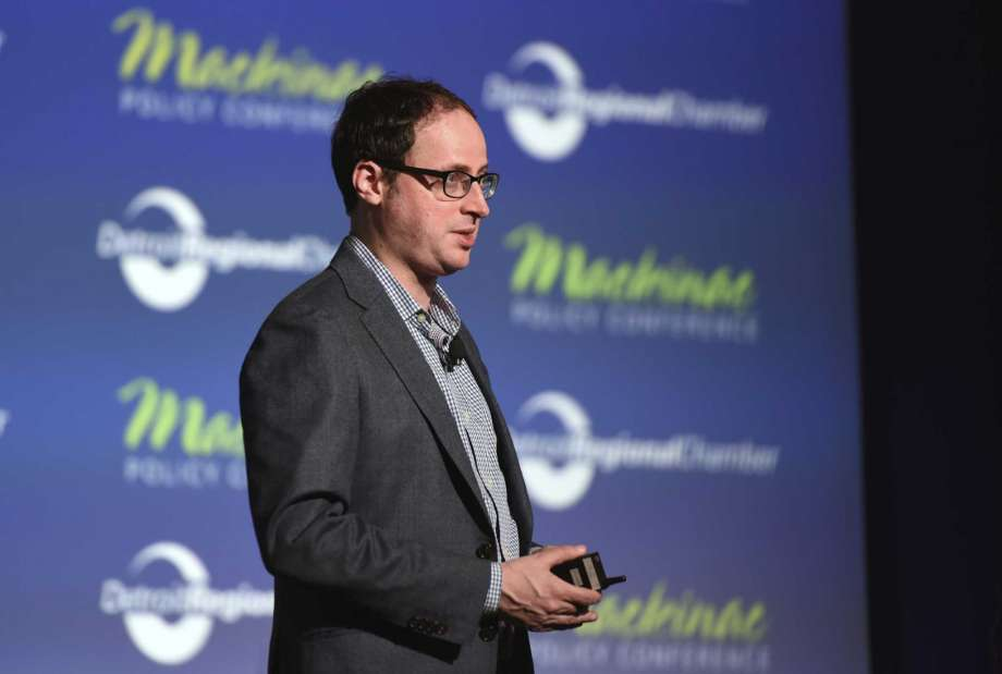 "FILE - In this May 28, 2015, file photo Nate Silver, founder of FiveThirtyEight.com and best selling author of ""The Signal and the Noise,"" gives his keynote address during the Mackinac Policy Conference at the Grand Hotel on Mackinac Island, Mich. (Tanya Moutzalias/The Ann Arbor News-MLive.com Detroit via AP, File) Photo: Tanya Moutzalias, AP / The Ann Arbor News-MLive.com Detroit"