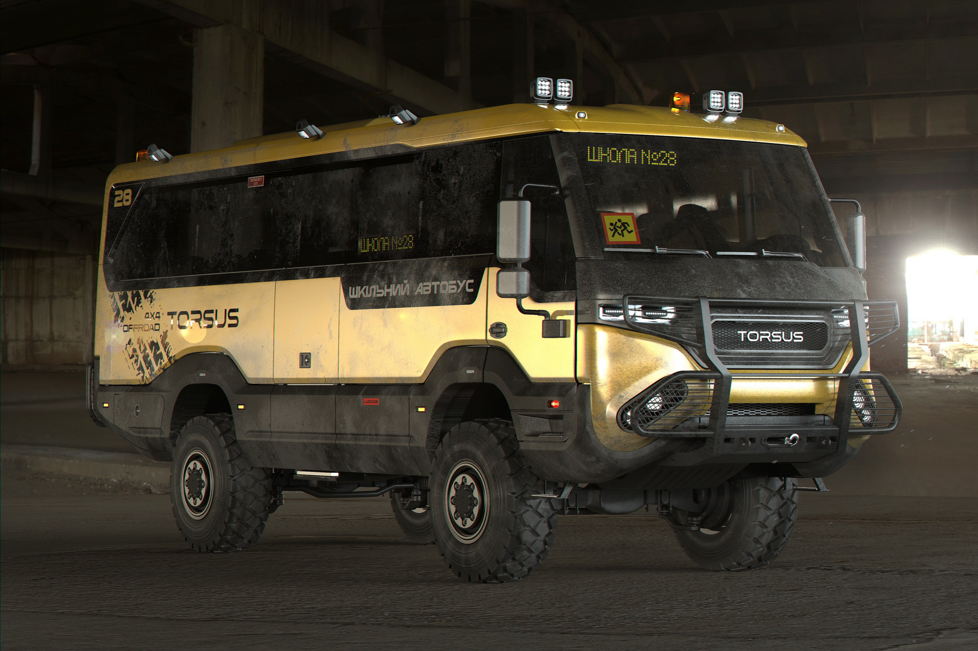 Czech automaker Torsus announced its Praetorian vehicle range this spring, promising to release a wide assortment of rugged vans and buses with unsurpassed off-road capabilities. The latest of these is a school bus seemingly capable of surviving an apocalypse.