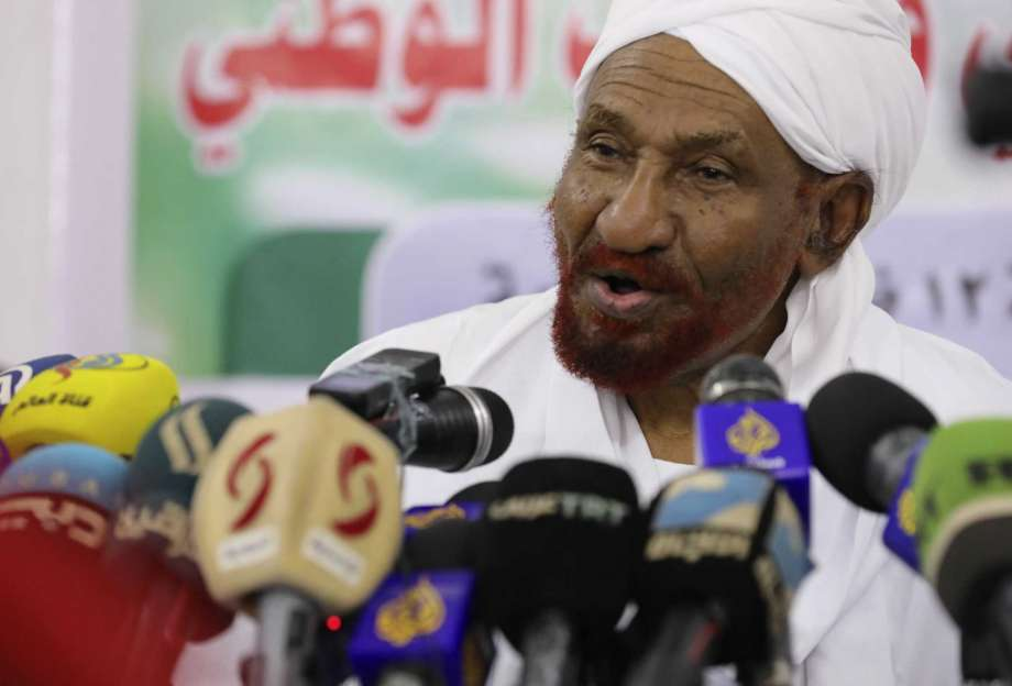 """FILE - In this Feb. 6, 2020 file photo, former Sudanese Prime Minister Sadiq al-Mahdi, left, leader of the Umma political party speaks during a news conference in Khartoum, Sudan.  Al-Mahdi has slammed an announcement by President Donald Trump that Sudan would start normalizing ties with Israel. Al-Mahdi said Saturday, Oct. 24,  the announcement """"contributes to the elimination of the peace project in the Middle East and to preparing for the ignition of a new war."""" Photo: Marwan Ali, AP / Copyright 2020 The Associated Press. All rights reserved."""