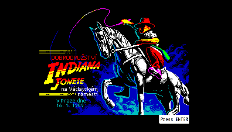 The loading screen of the browser-friendly version of 'Indiana Jones in Wenceslas Square' converted by Jaroslav Švelch and 8-bit veteran Martin Kouba.
