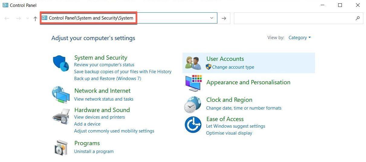 Windows 10 Control Panel address bar