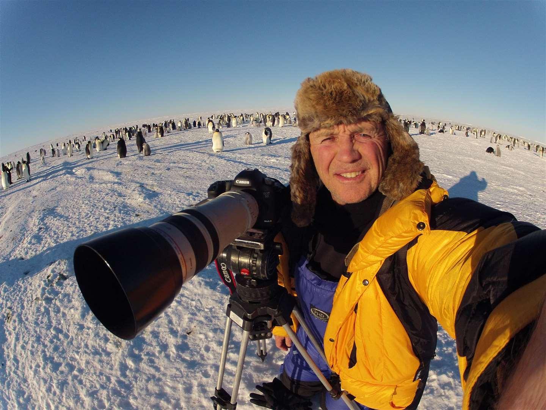 Doug Allan at the Emperor Penguin Colony