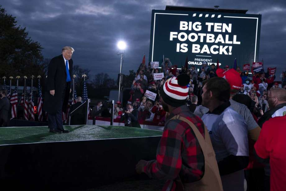 President Donald Trump speaks during a campaign rally at Pickaway Agricultural and Event Center, Saturday, Oct. 24, 2020, in Circleville, Ohio. Photo: Evan Vucci, AP / Copyright 2020 The Associated Press. All rights reserved
