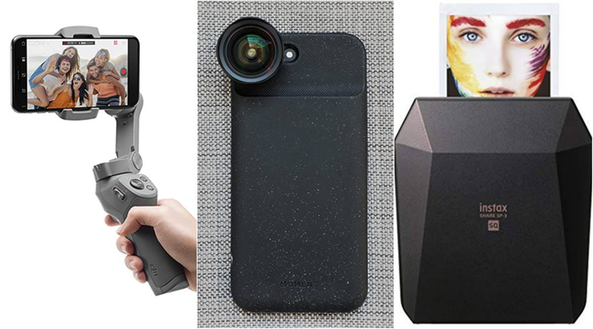 Smartphone camera accessories, smartphone accessories for video shooting, DJI Osmo gimble, Joby Gorilla Pod, Moment lenses, Portable photo printer