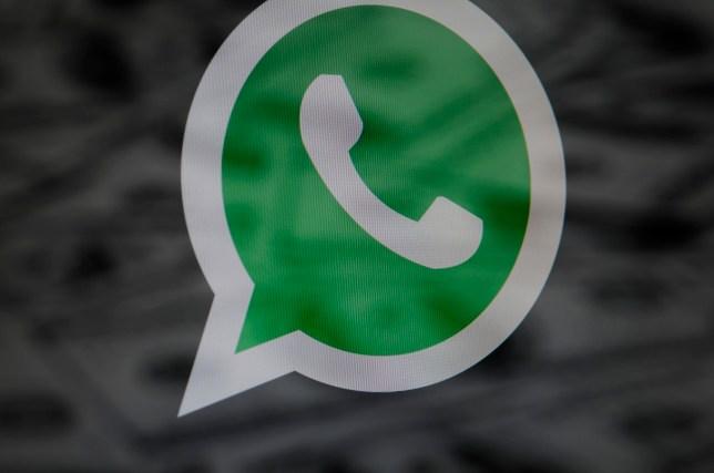 The WhatsApp logo on a screen