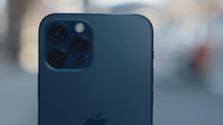 The iPhone 12 pro, pictured here, has three cameras, compared to two cameras on the 12.