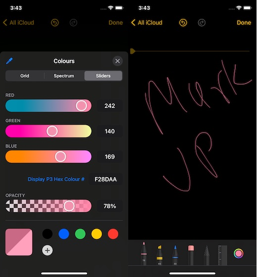 using markup color tools in Notes app