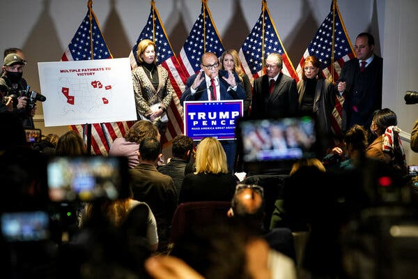 Rudolph W. Giuliani, President Trump's personal lawyer who is leading efforts to overturn the results of the 2020 election, at a news conference in Washington on Thursday. Also at the lectern were several other lawyers involved in the effort.