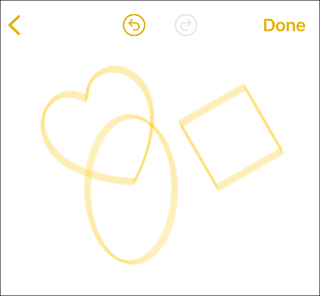 Automatic Shapes in Notes app on iPhone