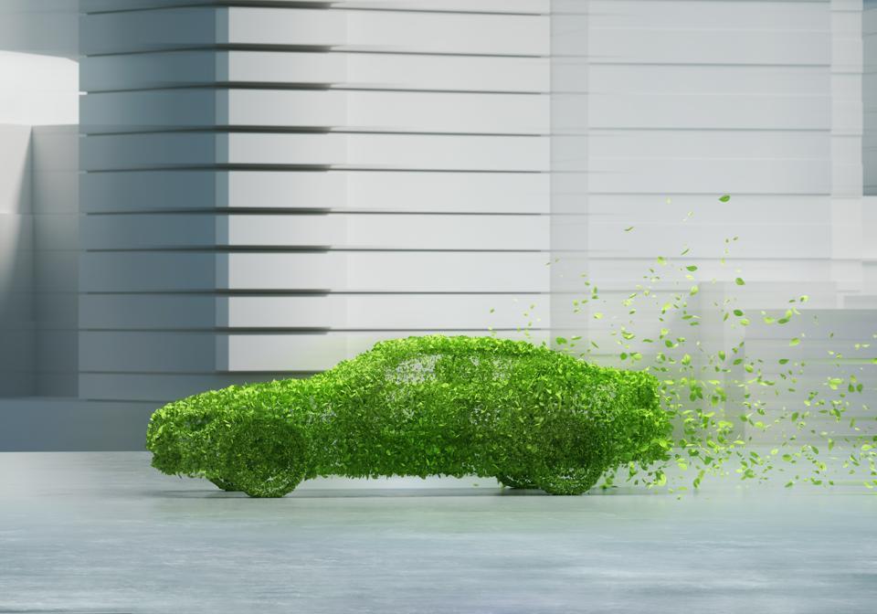 Green car in city
