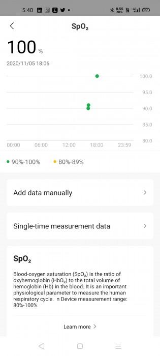 Blood oxygen level measurement with SpO2 sensor on Amazfit Bip U