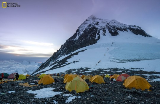 Climbers tents made from acryllic at Camp IV during the National Geographic and Rolex Perpetual Planet Everest Expedition