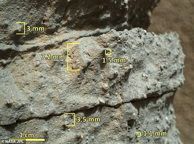 This close up image of rocks on Mars show changes in the bed interval including rounded coarse sand and pebble fragments suggesting water once flowed through the area