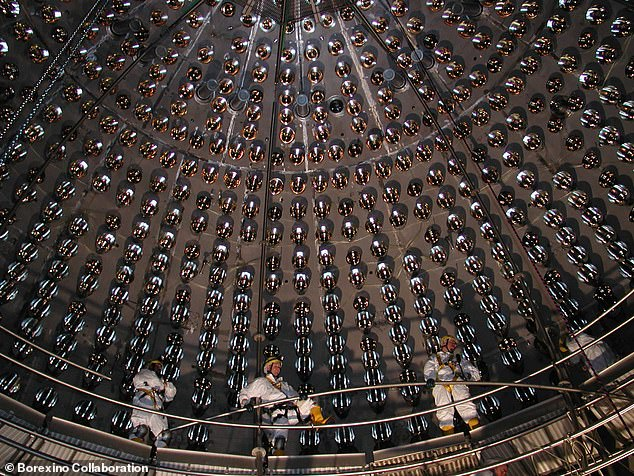 To ensure that the detector only picks up the rare neutrino signals — and is not overwhelmed by cosmic radiation — the Borexino experiment is both buried underground and further shielded by being cocooned in a water tank