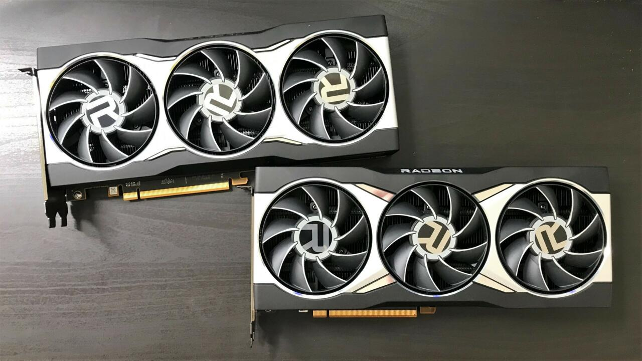 The RX 6800 (top left) and RX 6800 XT (bottom right).
