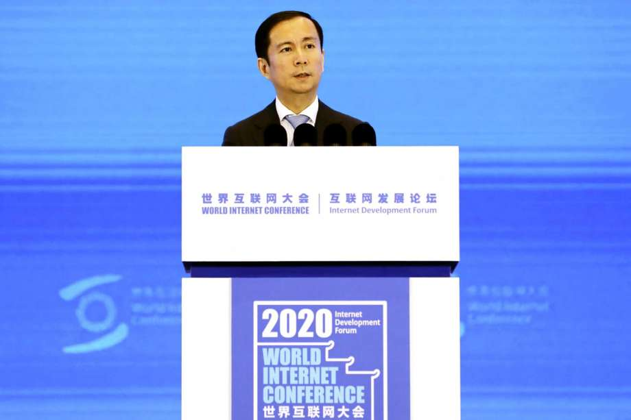 Daniel Zhang, Chairman and CEO of Alibaba Group, delivers a speech at the World Internet Conference in Wuzhen in east China's Zhejiang province Monday, Nov. 23, 2020. Zhang praised Chinese regulators Monday in a possible attempt to repair ties after the stock market debut of its former financial services arm was suspended following criticism of them by billionaire Alibaba founder Jack Ma. (Chinatopix Via AP) Photo: AP / Chinatopix