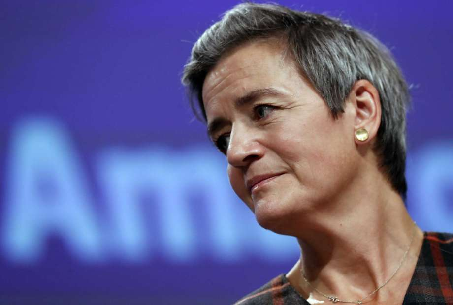 FILE - In this file photo dated Tuesday, Nov. 10, 2020, European Executive Vice-President Margrethe Vestager speaks during a press conference regarding an antitrust case with Amazon, at EU headquarters in Brussels.  The European Court of Auditors, which has examined the EU's enforcement of competition rules by big tech companies over the past decade said Thursday Nov. 19, 2020, that antitrust investigations have taken too long, dulling their effectiveness, a report said Thursday. (Olivier Hoslet, Pool FILE via AP) Photo: Olivier Hoslet, AP / EPA Pool