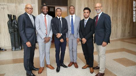 United Negro College Fund President and CEO Dr. Michael Lomax (right) and Morehouse University President David A. Thomas (left) with Morehouse students in 2018.