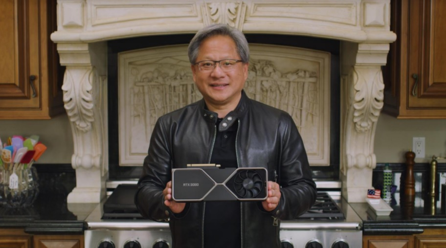 CEO Jensen Huang shows off GeForce RTX 3000 series graphics cards.