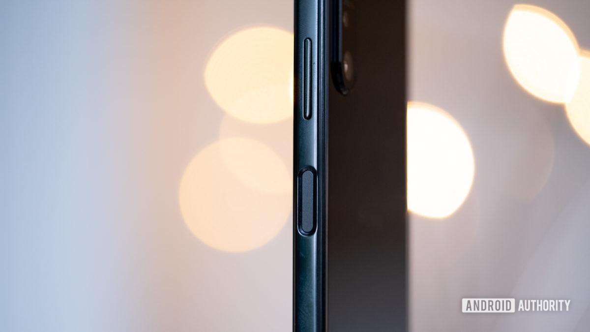 Sony Xperia 1 II fingerprint reader standing up