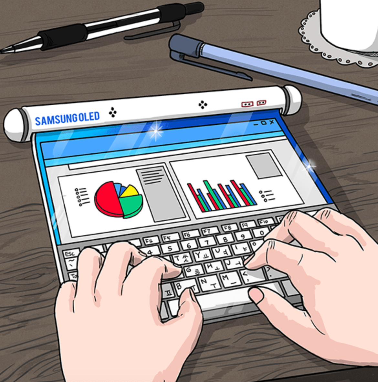 Samsung rollable smartphone sketch